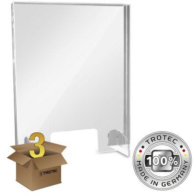 Plaque de protection acrylique pour comptoir SMALL 595 x 250 X 750 en lot de 3