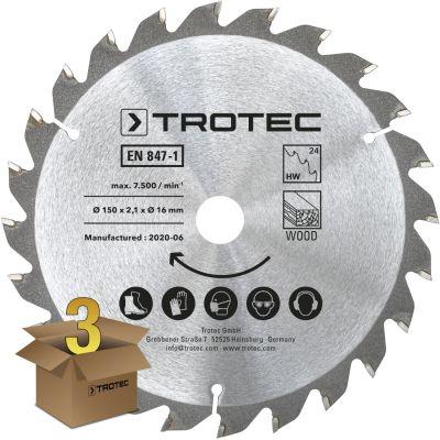 Lames bois pour scie circulaire Ø 150 mm 24 dents 3 pces