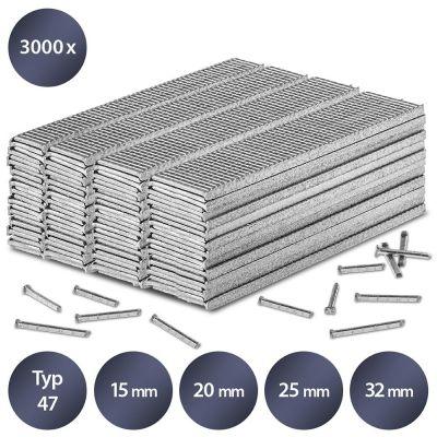 Set de pointes pour agrafeuse type 47, L 15/20/25/32 mm (3000 pces)