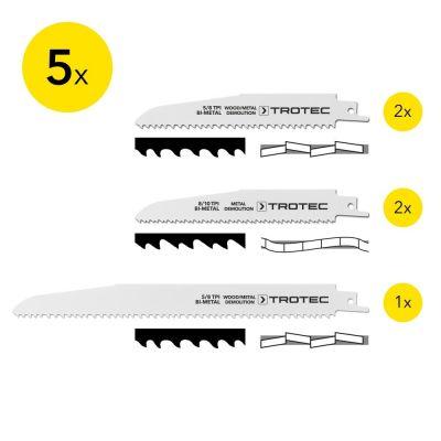Set de lames bois/métal pour scie sabre (5 pces)