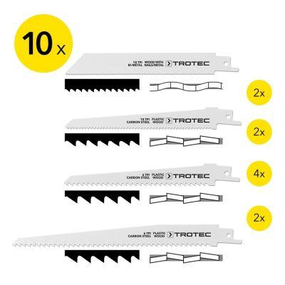 Set de lames bois/métal/plastique pour scie sabre (10 pces)