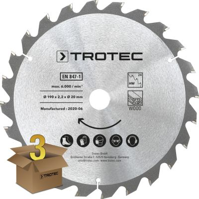 Lames bois pour scie circulaire Ø 190 mm (24 dents) 3 pces