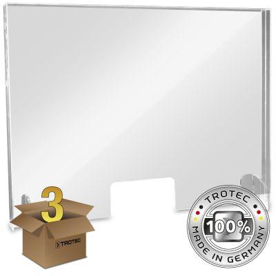 Plaque de protection acrylique pour comptoir LARGE 995 x 250 x 750 en lot de 3