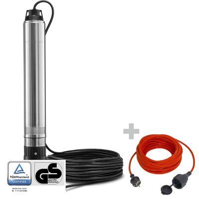 Pompe de puits TDP 750 E + Rallonge haute qualité 15 m 230 V 1,5 mm²