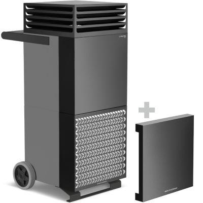 Purificateur d'air TAC V+ gris basalte/noir + Capot insonorisant