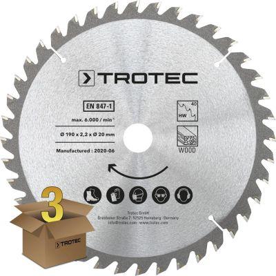 Lames bois pour scie circulaire Ø 190 mm (40 dents) 3 pces