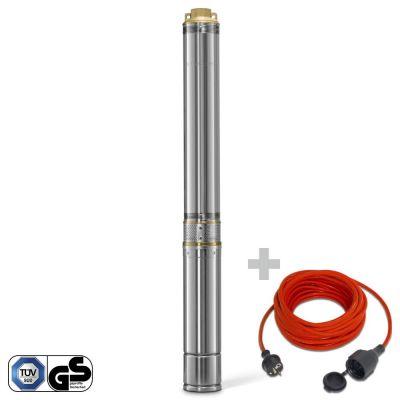 Pompe de puits TDP 7500 E + Rallonge haute qualité 15 m 230 V 1,5 mm²