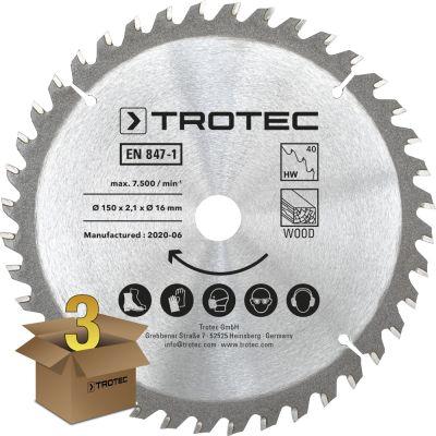 Lames bois pour scie circulaire Ø 150 mm (40 dents) 3 pces
